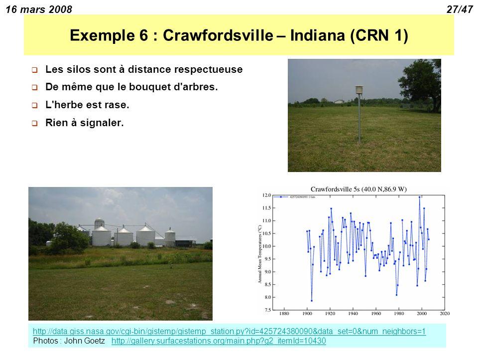 16 mars 200827/47 Exemple 6 : Crawfordsville – Indiana (CRN 1) Les silos sont à distance respectueuse De même que le bouquet d arbres.