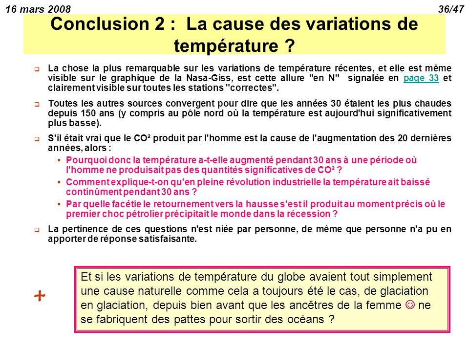 16 mars 200836/47 Conclusion 2 : La cause des variations de température .