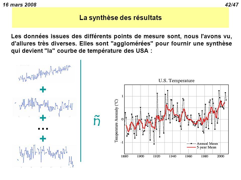 16 mars 200842/47 La synthèse des résultats Les données issues des différents points de mesure sont, nous l avons vu, d allures très diverses.