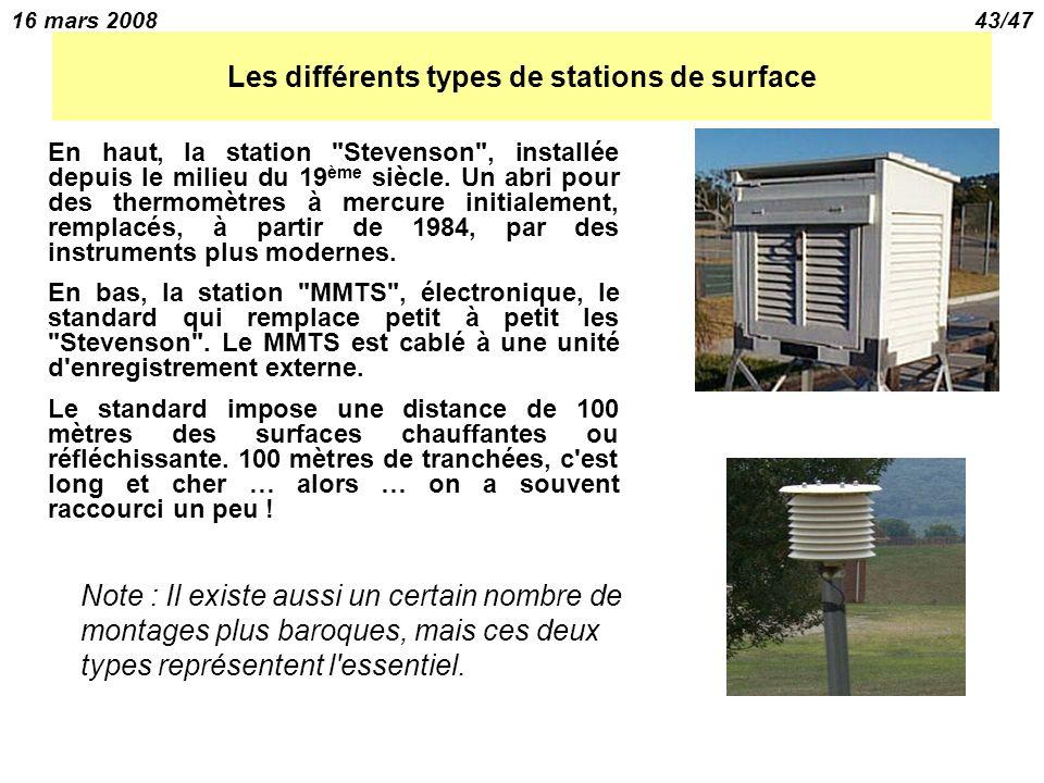 16 mars 200843/47 Les différents types de stations de surface En haut, la station Stevenson , installée depuis le milieu du 19 ème siècle.