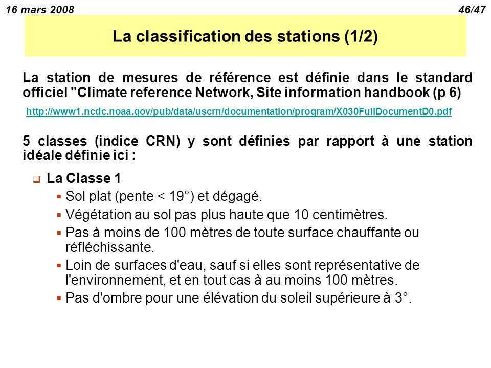 16 mars 200846/47 La classification des stations (1/2) La station de mesures de référence est définie dans le standard officiel Climate reference Network, Site information handbook (p 6) http://www1.ncdc.noaa.gov/pub/data/uscrn/documentation/program/X030FullDocumentD0.pdf 5 classes (indice CRN) y sont définies par rapport à une station idéale définie ici : La Classe 1 Sol plat (pente < 19°) et dégagé.