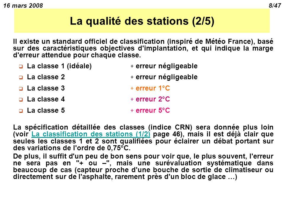 16 mars 20088/47 La qualité des stations (2/5) Il existe un standard officiel de classification (inspiré de Météo France), basé sur des caractéristiques objectives d implantation, et qui indique la marge d erreur attendue pour chaque classe.