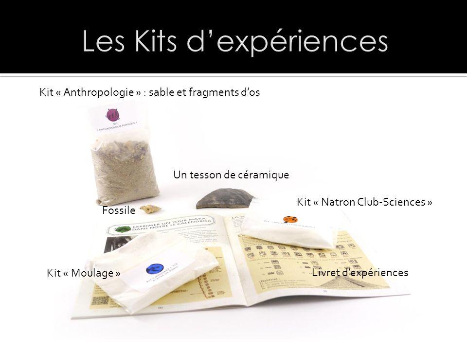 Kit « Anthropologie » : sable et fragments dos Fossile Un tesson de céramique Kit « Natron Club-Sciences » Livret dexpériences Kit « Moulage »