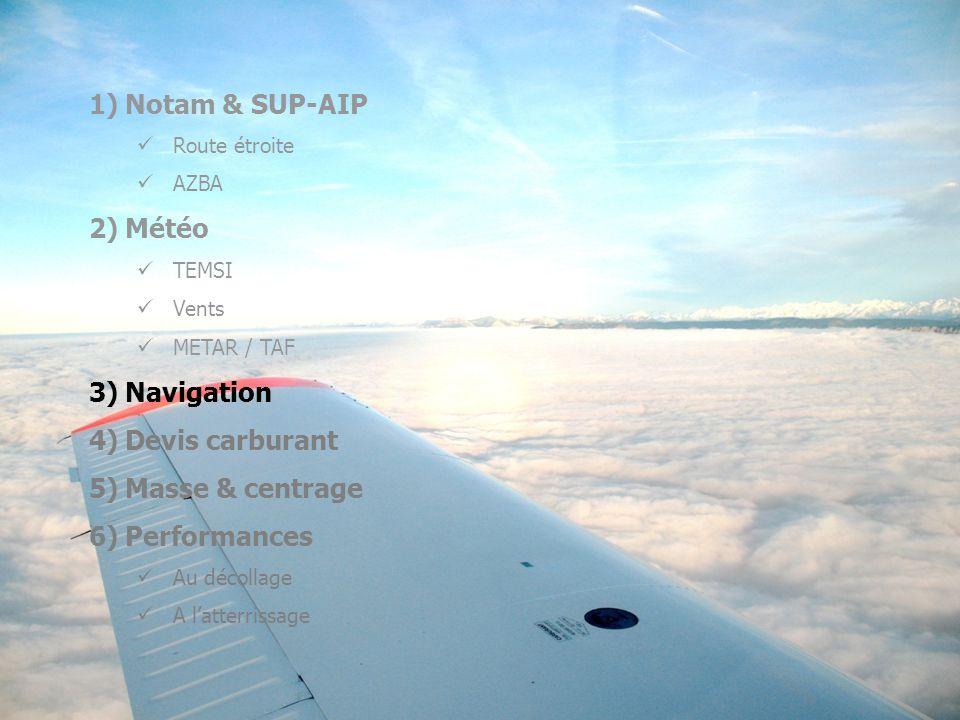1)Notam & SUP-AIP Route étroite AZBA 2)Météo TEMSI Vents METAR / TAF 3)Navigation 4)Devis carburant 5)Masse & centrage 6)Performances Au décollage A latterrissage