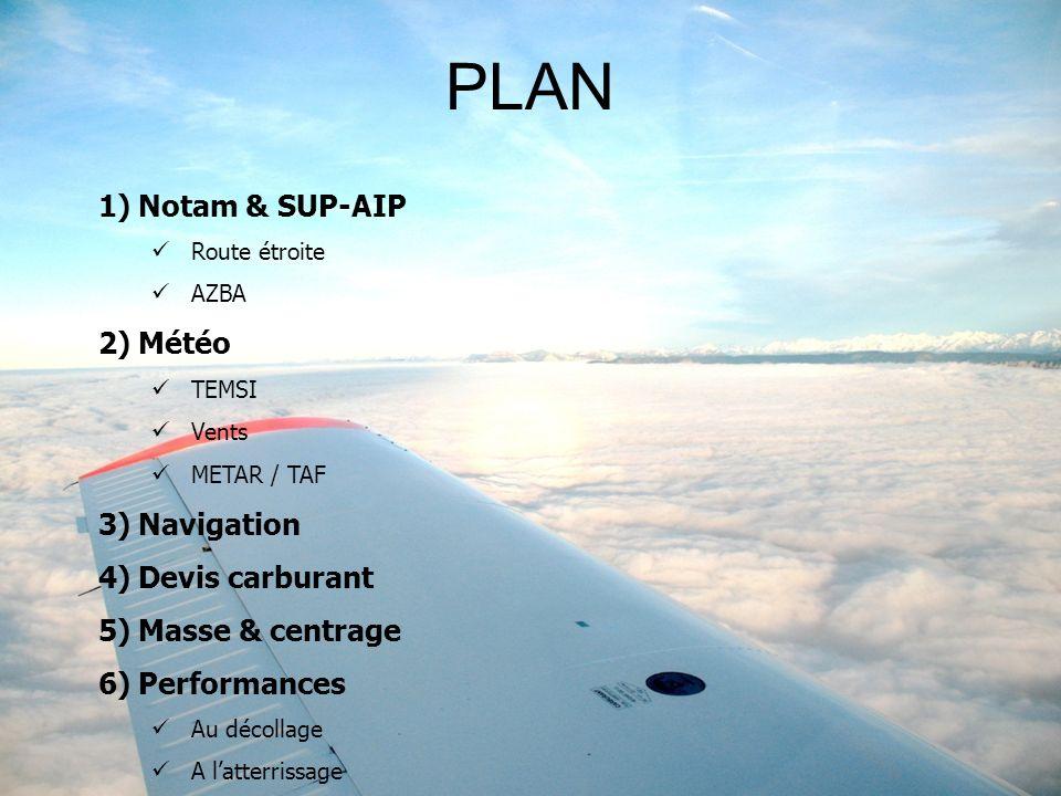 1)Notam & SUP-AIP Route étroite AZBA 2)Météo TEMSI Vents METAR / TAF 3)Navigation 4)Devis carburant 5)Masse & centrage 6)Performances Au décollage A latterrissage PLAN
