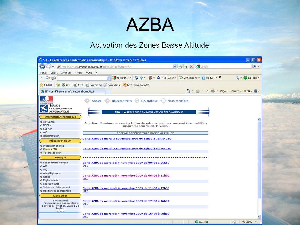 AZBA Activation des Zones Basse Altitude