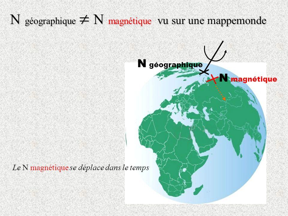 N magnétique N géographique N géographique N magnétique vu sur uneappemonde N géographique N magnétique vu sur une mappemonde Le N magnétique se déplace dans le temps