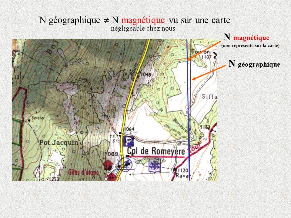 N géographique N magnétique vu sur une carte négligeable chez nous N géographique N magnétique (non représenté sur la carte)