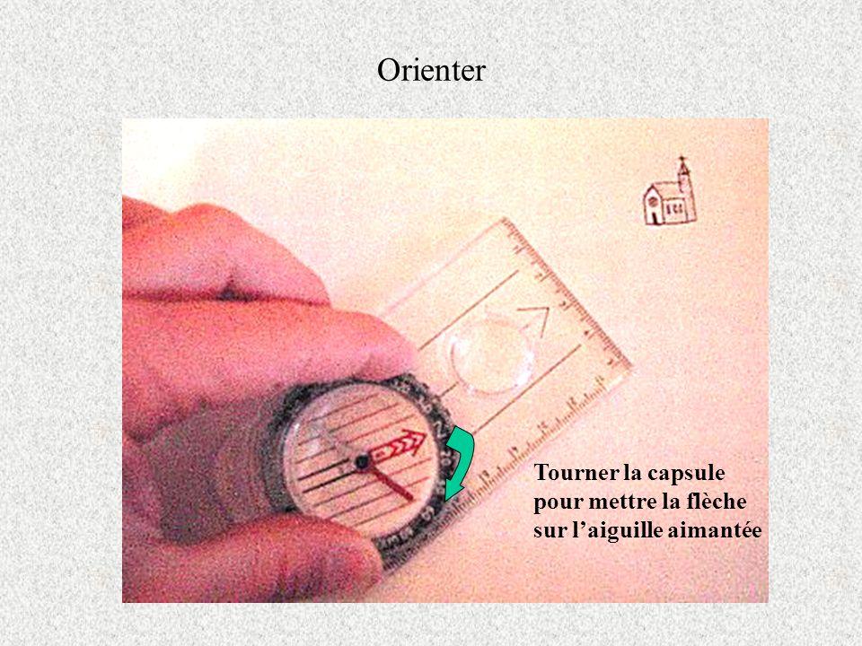 Orienter Tourner la capsule pour mettre la flèche sur laiguille aimantée