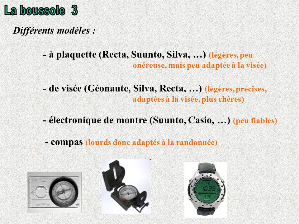 Différents modèles : - à plaquette (Recta, Suunto, Silva, …) (légères, peu onéreuse, mais peu adaptée à la visée) - de visée (Géonaute, Silva, Recta, …) (légères, précises, adaptées à la visée, plus chères) - électronique de montre (Suunto, Casio, …) (peu fiables) - compas (lourds donc adaptés à la randonnée)
