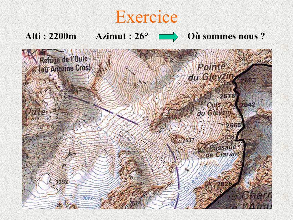 Exercice Alti : 2200m Azimut : 26° Où sommes nous ?