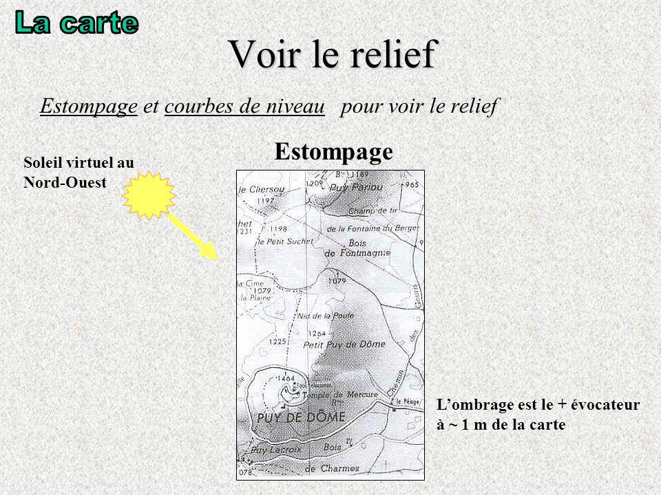 Voir le relief Estompage et courbes de niveau pour voir le relief Estompage Soleil virtuel au Nord-Ouest Lombrage est le + évocateur à ~ 1 m de la carte