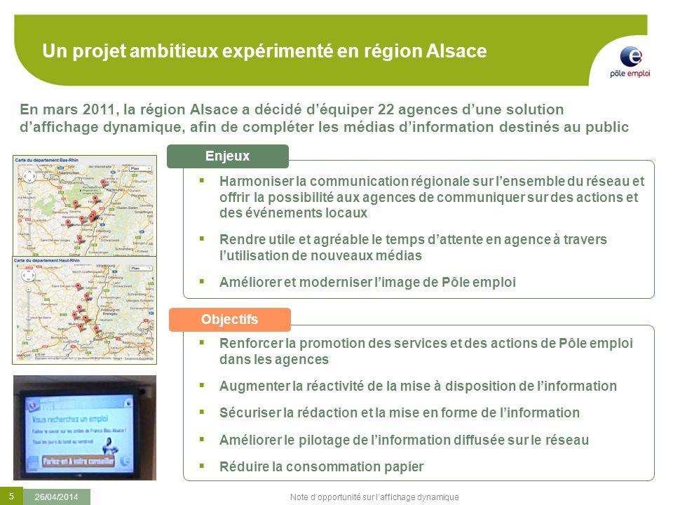 5 26/04/2014 Note dopportunité sur laffichage dynamique En mars 2011, la région Alsace a décidé déquiper 22 agences dune solution daffichage dynamique
