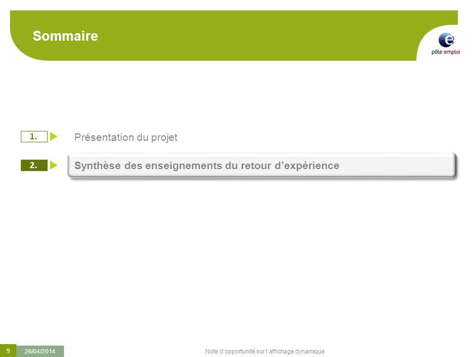 9 26/04/2014 Note dopportunité sur laffichage dynamique Sommaire 1. 2. Présentation du projet Synthèse des enseignements du retour dexpérience
