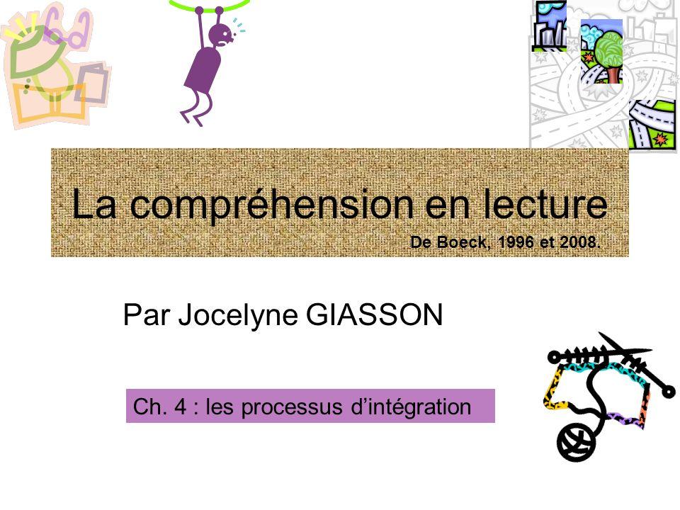 Par Jocelyne GIASSON Ch. 4 : les processus dintégration La compréhension en lecture De Boeck, 1996 et 2008.