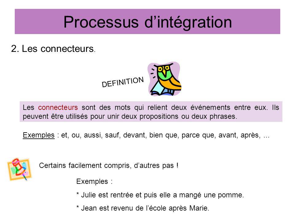 Processus dintégration 2. Les connecteurs. Les connecteurs sont des mots qui relient deux événements entre eux. Ils peuvent être utilisés pour unir de