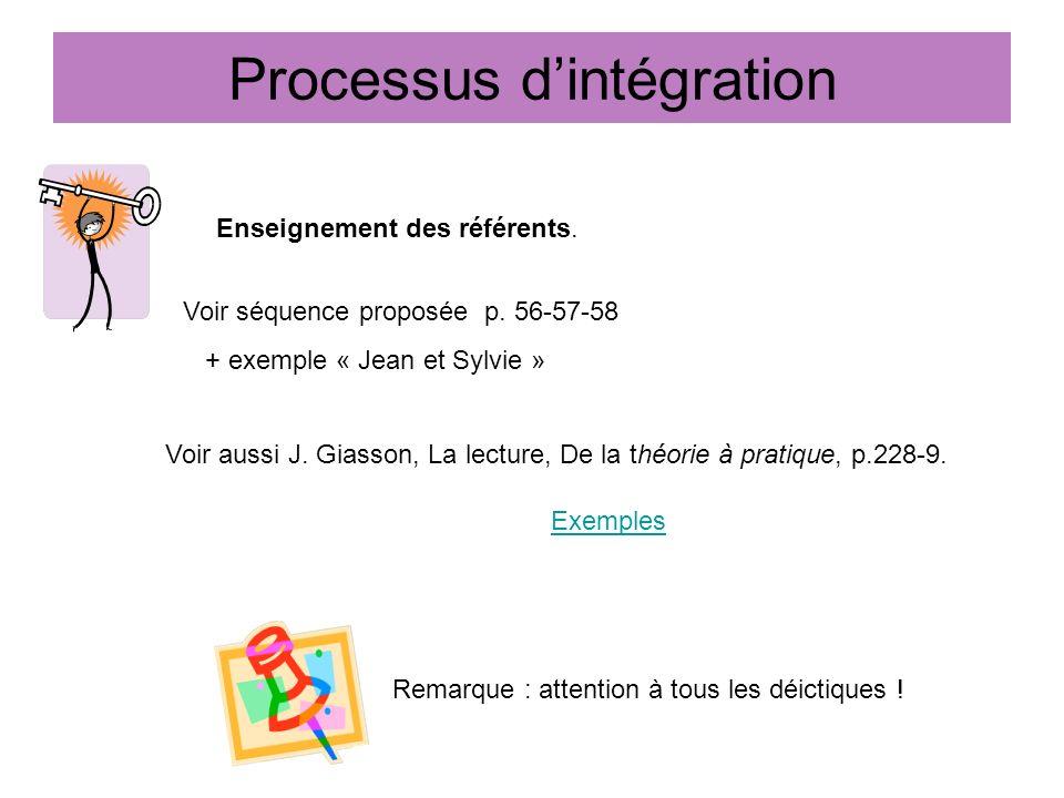 Processus dintégration Enseignement des référents. Voir séquence proposée p. 56-57-58 + exemple « Jean et Sylvie » Remarque : attention à tous les déi