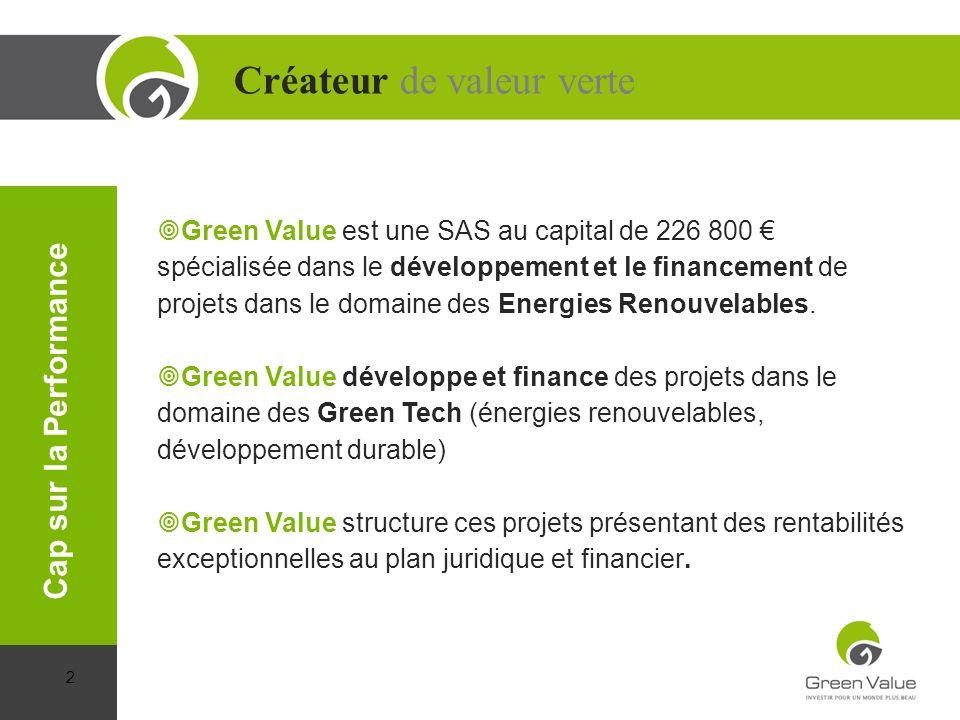 Green Value est une SAS au capital de 226 800 spécialisée dans le développement et le financement de projets dans le domaine des Energies Renouvelable