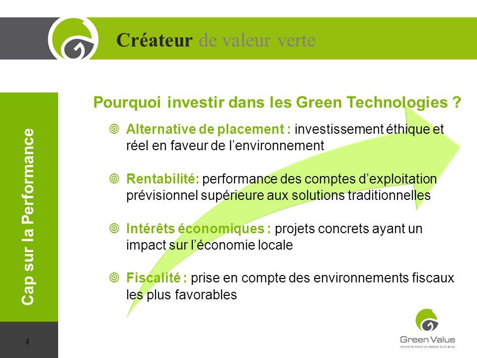 Créateur de valeur verte Cap sur la Performance Alternative de placement : investissement éthique et réel en faveur de lenvironnement Rentabilité: per