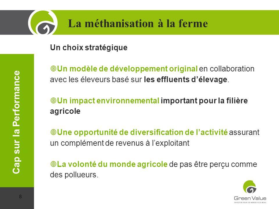 Un choix stratégique Un modèle de développement original en collaboration avec les éleveurs basé sur les effluents délevage. Un impact environnemental