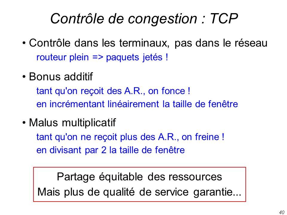 40 Contrôle de congestion : TCP Contrôle dans les terminaux, pas dans le réseau routeur plein => paquets jetés ! Bonus additif tant qu'on reçoit des A