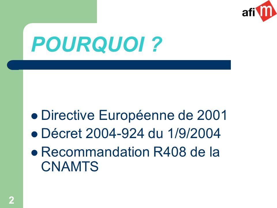 2 POURQUOI ? Directive Européenne de 2001 Décret 2004-924 du 1/9/2004 Recommandation R408 de la CNAMTS