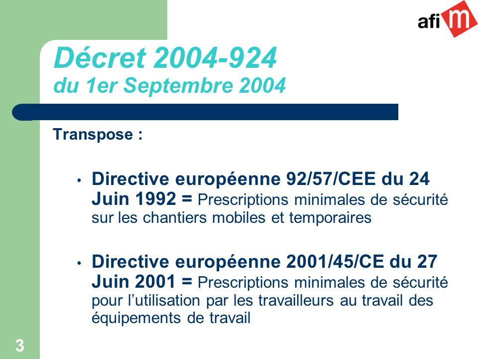 3 Décret 2004-924 du 1er Septembre 2004 Transpose : Directive européenne 92/57/CEE du 24 Juin 1992 = Prescriptions minimales de sécurité sur les chant