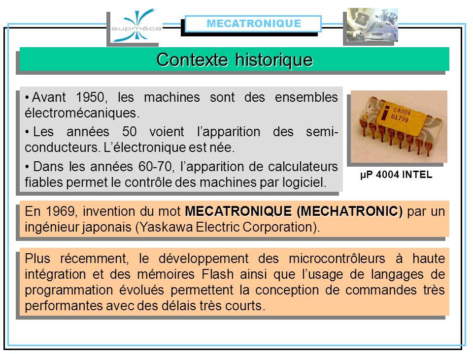 Contexte historique MECATRONIQUE (MECHATRONIC) En 1969, invention du mot MECATRONIQUE (MECHATRONIC) par un ingénieur japonais (Yaskawa Electric Corpor