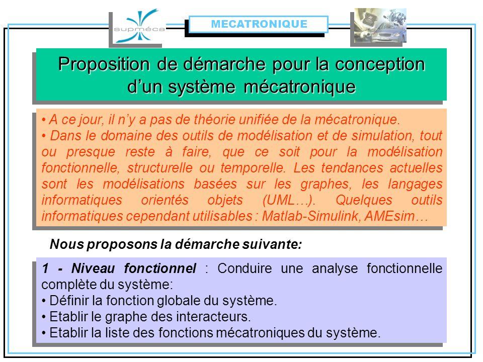 Proposition de démarche pour la conception dun système mécatronique 1 - Niveau fonctionnel : Conduire une analyse fonctionnelle complète du système: D