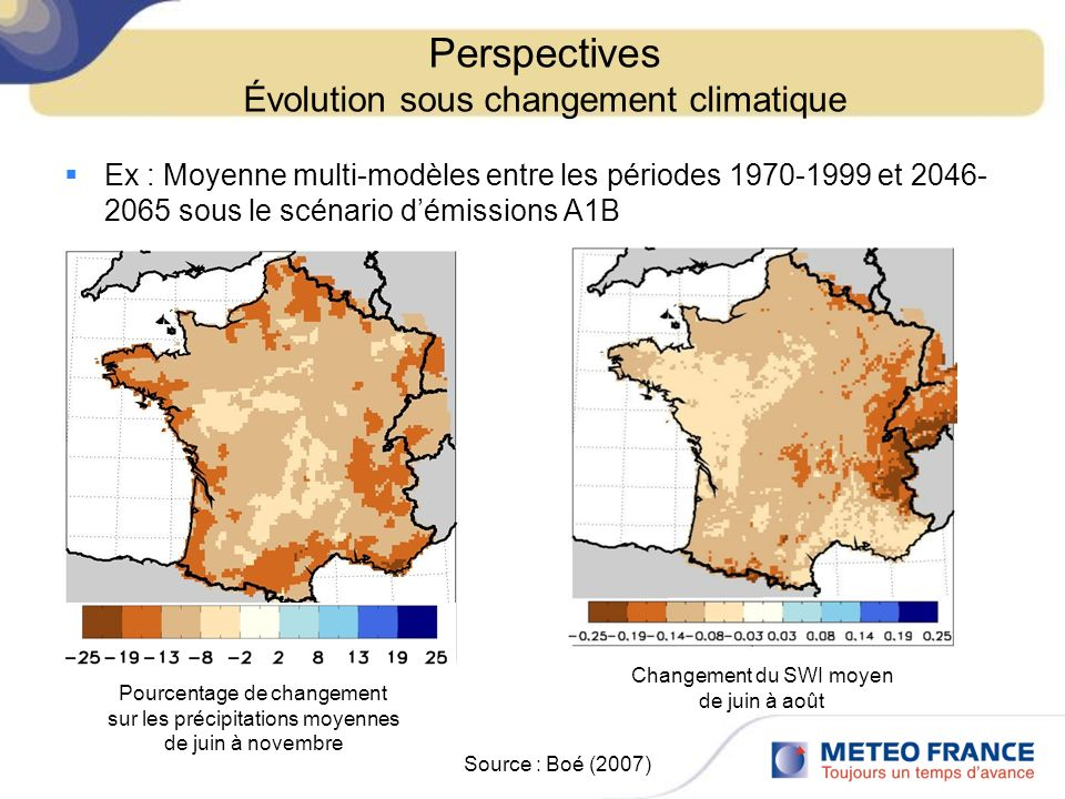 Perspectives Évolution sous changement climatique Ex : Moyenne multi-modèles entre les périodes 1970-1999 et 2046- 2065 sous le scénario démissions A1B Source : Boé (2007) Changement du SWI moyen de juin à août Pourcentage de changement sur les précipitations moyennes de juin à novembre