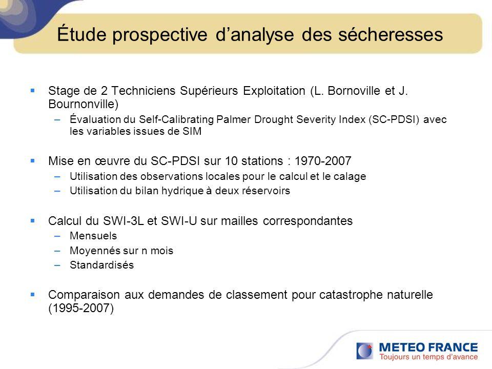 Étude prospective danalyse des sécheresses Stage de 2 Techniciens Supérieurs Exploitation (L.