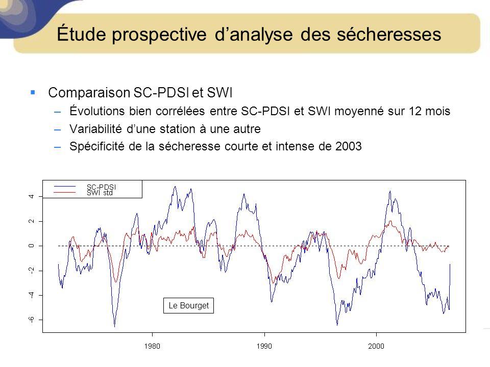 Comparaison SC-PDSI et SWI –Évolutions bien corrélées entre SC-PDSI et SWI moyenné sur 12 mois –Variabilité dune station à une autre –Spécificité de la sécheresse courte et intense de 2003 Le Bourget Étude prospective danalyse des sécheresses