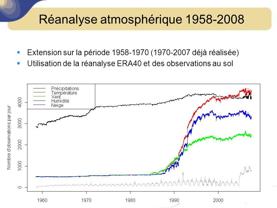 Réanalyse atmosphérique 1958-2008 615 zones climatologiquement homogènes + gradients daltitude Interpolation sur une grille régulière de 8km 8 variables analysées –Pluie –Neige –Nébulosité –Rayonnement solaire –Rayonnement IR incident –Vitesse du vent à 10m –Humidité relative –Température à 2m