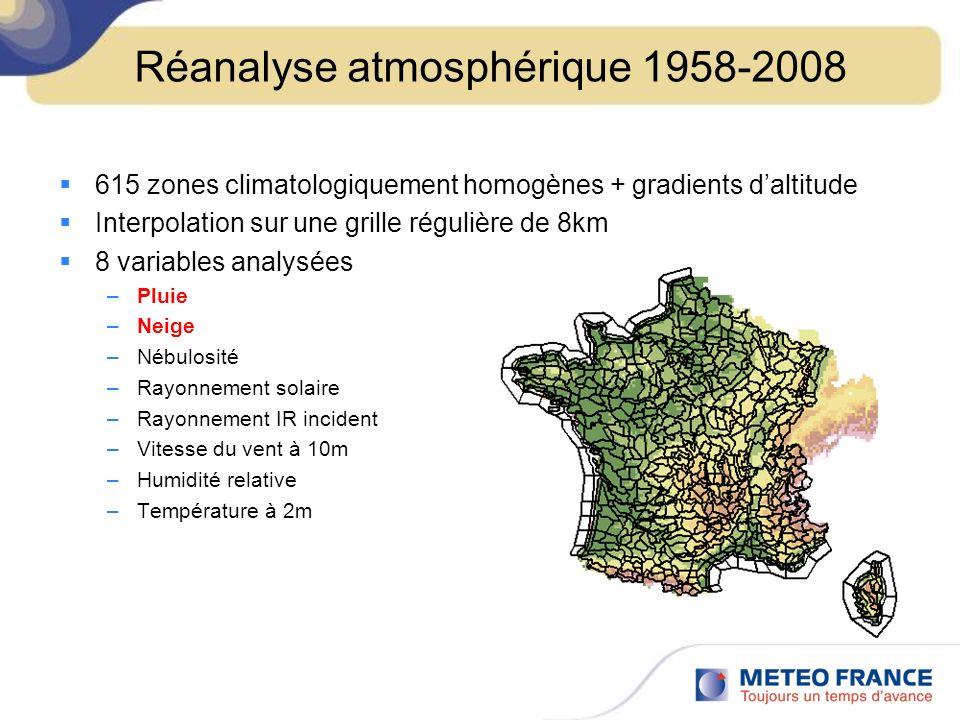 Moyennes pluviométriques 1961-1990 Interpolation des observations Régression prenant en compte le relief Maillage de 1km Aggrégation à léchelle de 8km SafranAurelhy