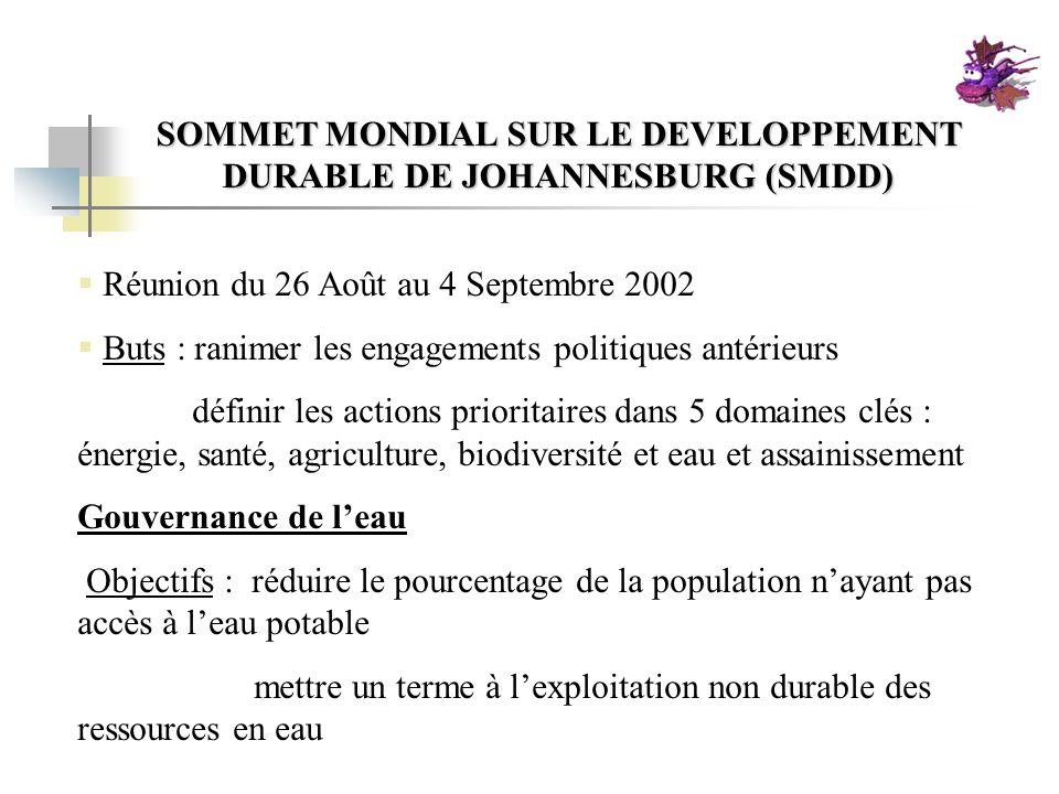 SOMMET MONDIAL SUR LE DEVELOPPEMENT DURABLE DE JOHANNESBURG (SMDD) Réunion du 26 Août au 4 Septembre 2002 Buts : ranimer les engagements politiques an