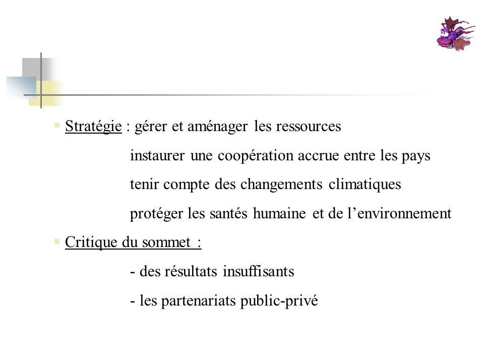Stratégie : gérer et aménager les ressources instaurer une coopération accrue entre les pays tenir compte des changements climatiques protéger les san