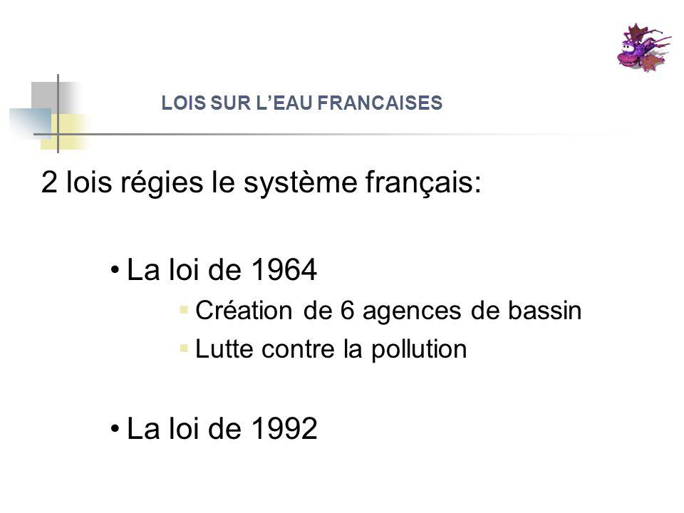 LOIS SUR LEAU FRANCAISES 2 lois régies le système français: La loi de 1964 Création de 6 agences de bassin Lutte contre la pollution La loi de 1992