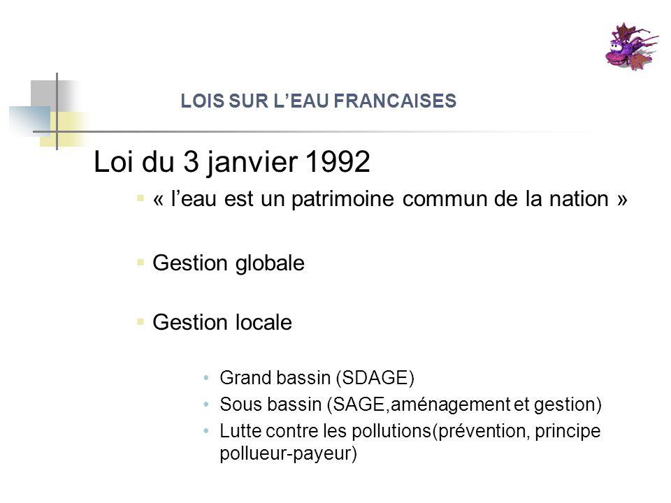 LOIS SUR LEAU FRANCAISES Loi du 3 janvier 1992 « leau est un patrimoine commun de la nation » Gestion globale Gestion locale Grand bassin (SDAGE) Sous