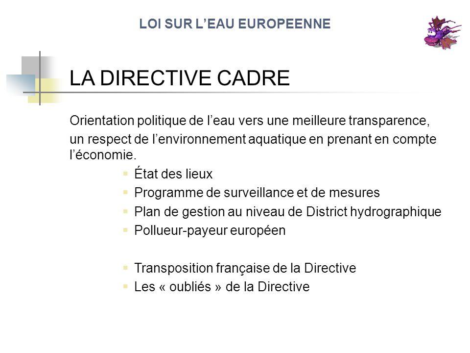 LOI SUR LEAU EUROPEENNE LA DIRECTIVE CADRE Orientation politique de leau vers une meilleure transparence, un respect de lenvironnement aquatique en pr