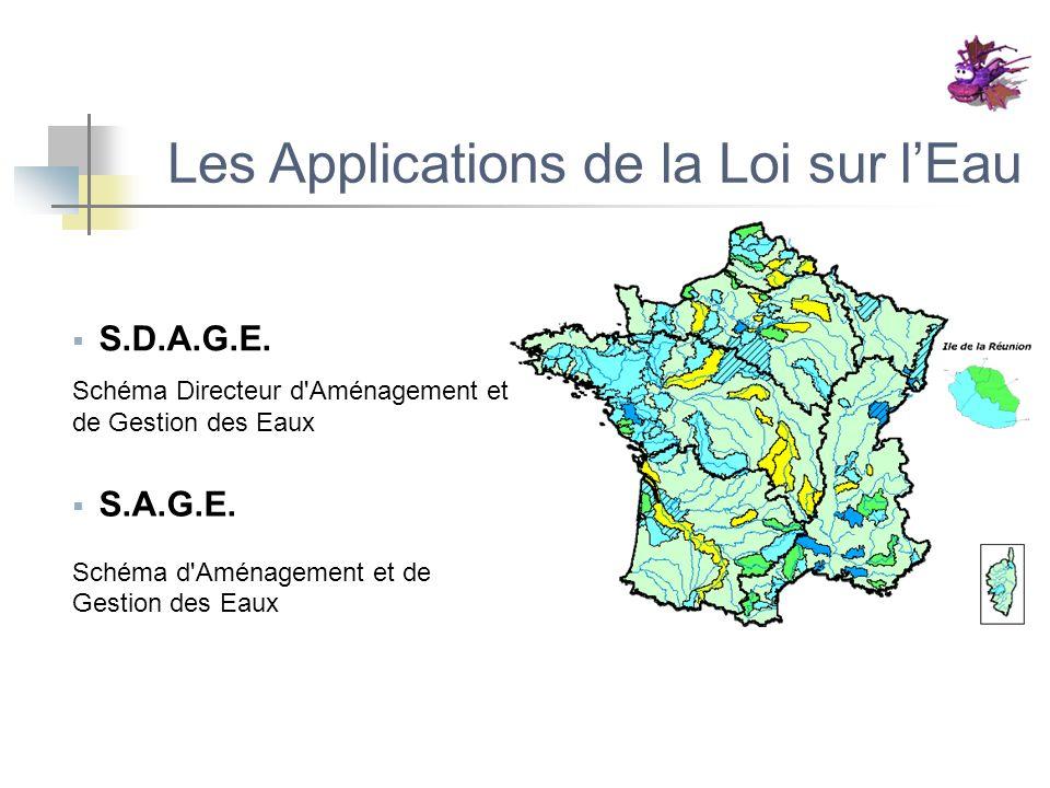 Les Applications de la Loi sur lEau S.D.A.G.E. Schéma Directeur d'Aménagement et de Gestion des Eaux S.A.G.E. Schéma d'Aménagement et de Gestion des E
