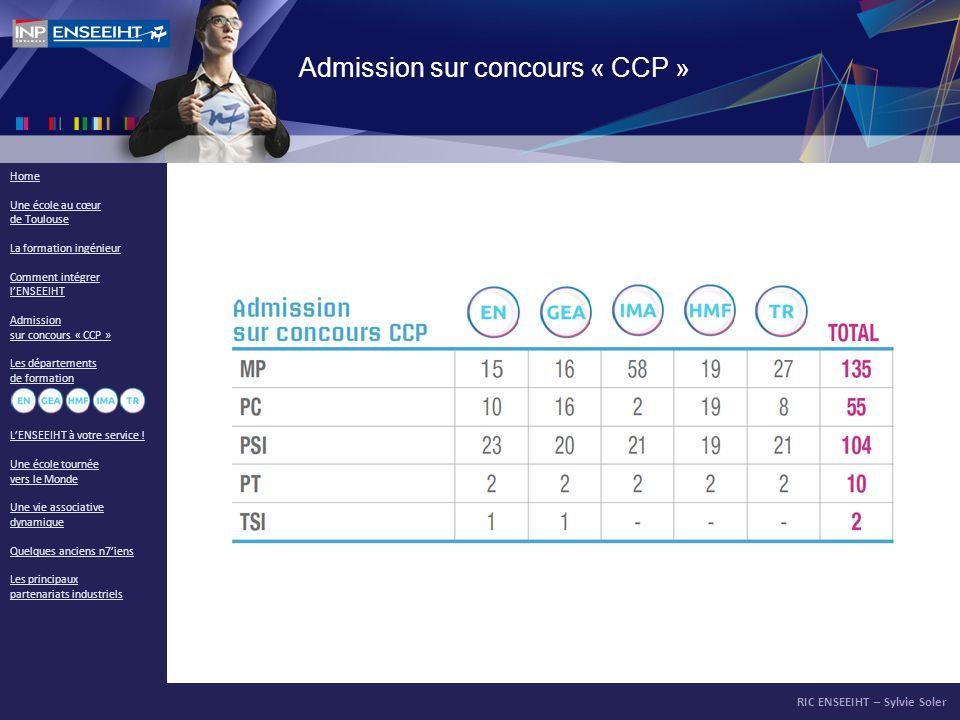 RIC ENSEEIHT – Sylvie Soler Home Une école au cœur de Toulouse La formation ingénieur Comment intégrer lENSEEIHT Admission sur concours « CCP » Les dé