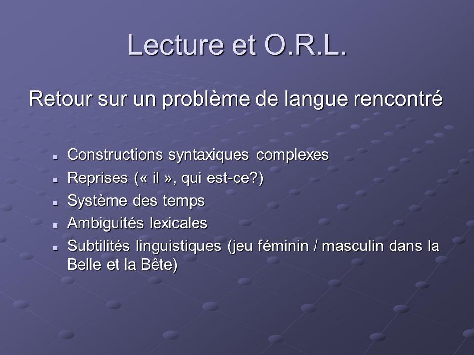Lecture et O.R.L. Retour sur un problème de langue rencontré Constructions syntaxiques complexes Constructions syntaxiques complexes Reprises (« il »,
