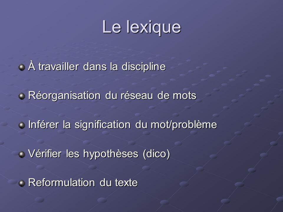 Le lexique À travailler dans la discipline Réorganisation du réseau de mots Inférer la signification du mot/problème Vérifier les hypothèses (dico) Re