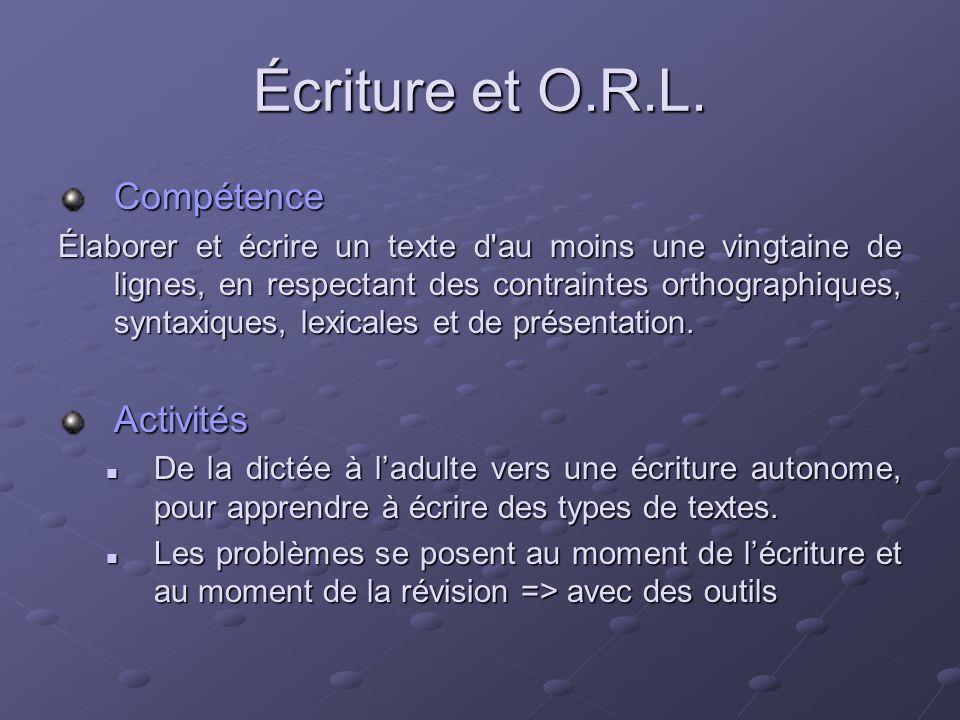 Écriture et O.R.L. Compétence Élaborer et écrire un texte d'au moins une vingtaine de lignes, en respectant des contraintes orthographiques, syntaxiqu