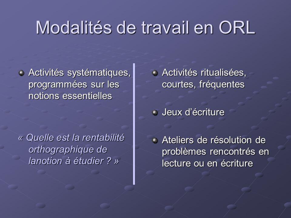 Modalités de travail en ORL Activités systématiques, programmées sur les notions essentielles « Quelle est la rentabilité orthographique de lanotion à