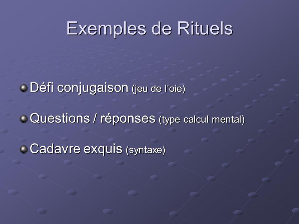 Exemples de Rituels Défi conjugaison (jeu de loie) Questions / réponses (type calcul mental) Cadavre exquis (syntaxe)