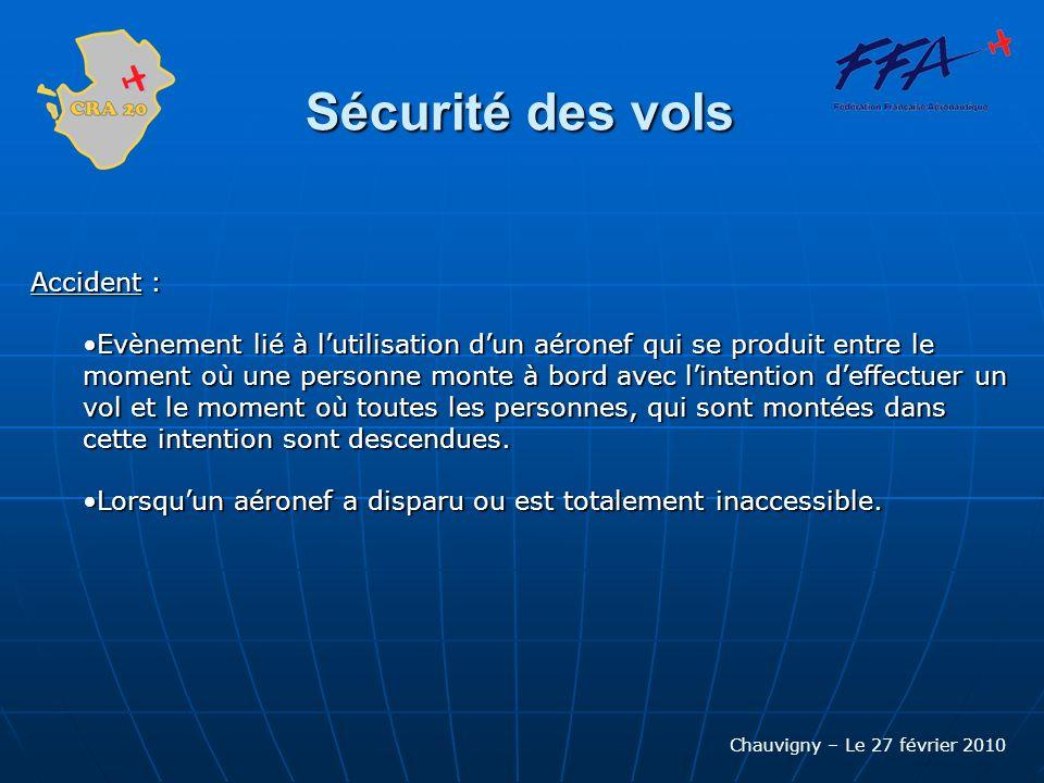 Chauvigny – Le 27 février 2010 Sécurité des vols Accident : Evènement lié à lutilisation dun aéronef qui se produit entre le moment où une personne mo