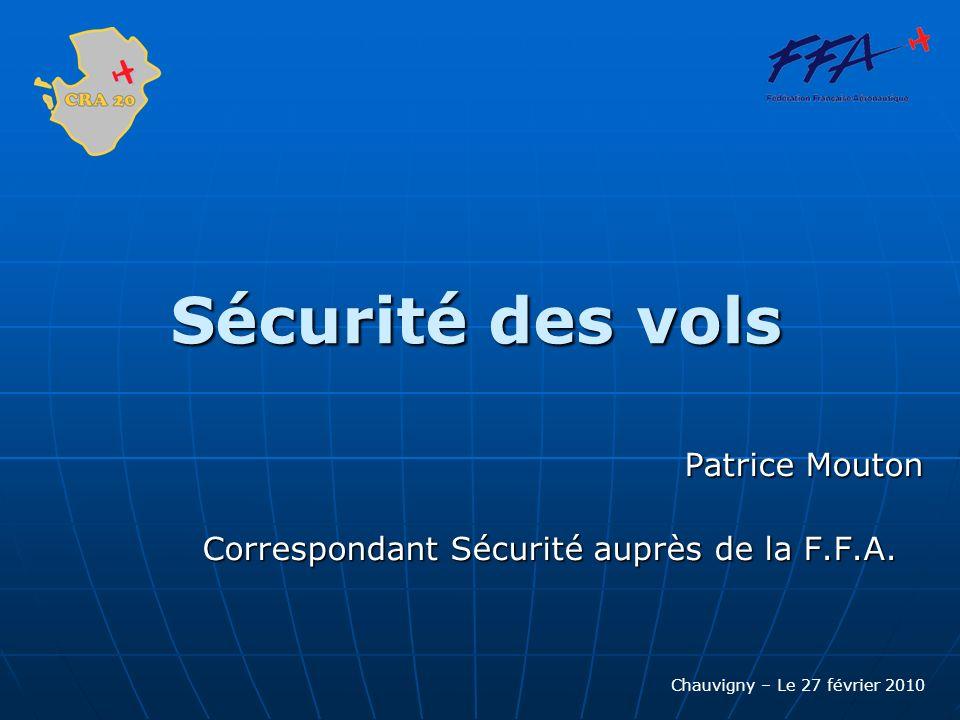 Sécurité des vols Patrice Mouton Correspondant Sécurité auprès de la F.F.A. Chauvigny – Le 27 février 2010