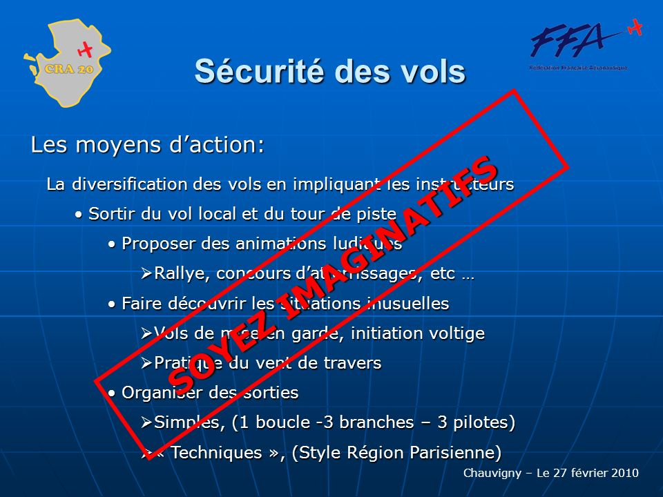 Chauvigny – Le 27 février 2010 Sécurité des vols Les moyens daction: La diversification des vols en impliquant les instructeurs La diversification des