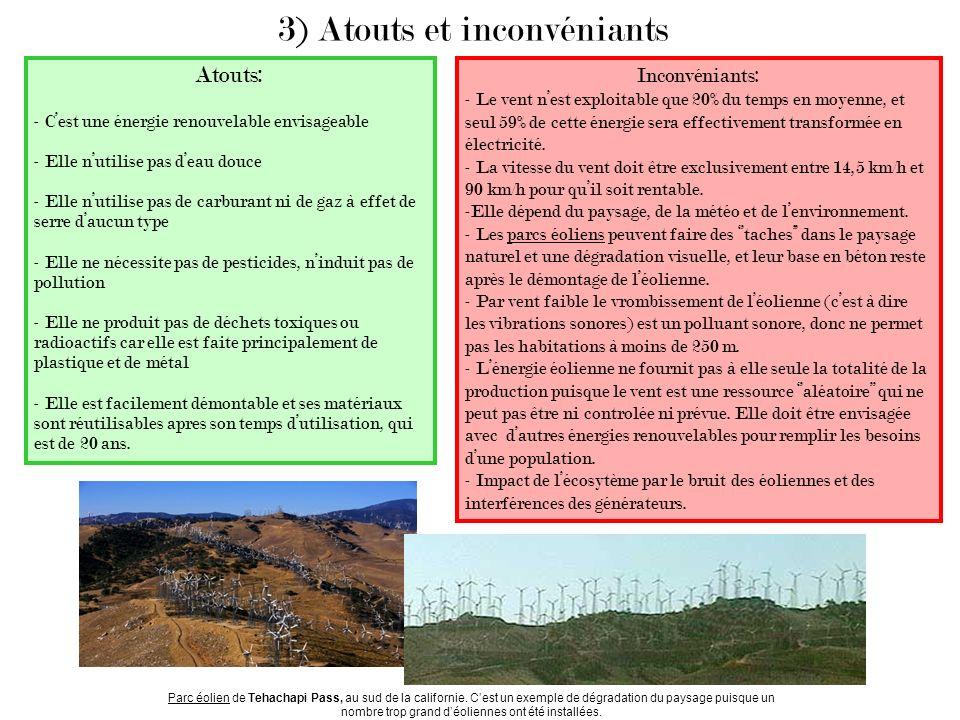 3) Atouts et inconvéniants Atouts: - Cest une énergie renouvelable envisageable - Elle nutilise pas deau douce - Elle nutilise pas de carburant ni de